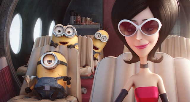 "EXCLUSIVE FOR FIRST USE IN USA TODAY Scarlett Overkill, voice of Sandra Bullock, in a scene from the animated motion picture ""Minions."" CREDIT:  Universal Pictures and Illumination Entertainment [Via MerlinFTP Drop]"
